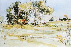 57B, Late Summer Pasture, Augusta County, watercolor sketch over pencil, 14x18